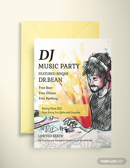 Free DJ Music Party Invitation Template