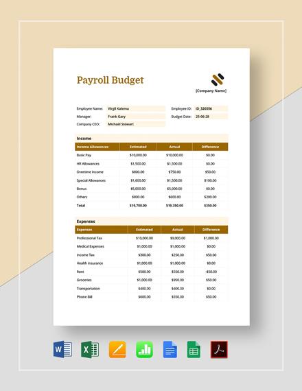 Payroll Budget Template