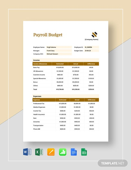9 Payroll Budget Templates Free Sample Example Format