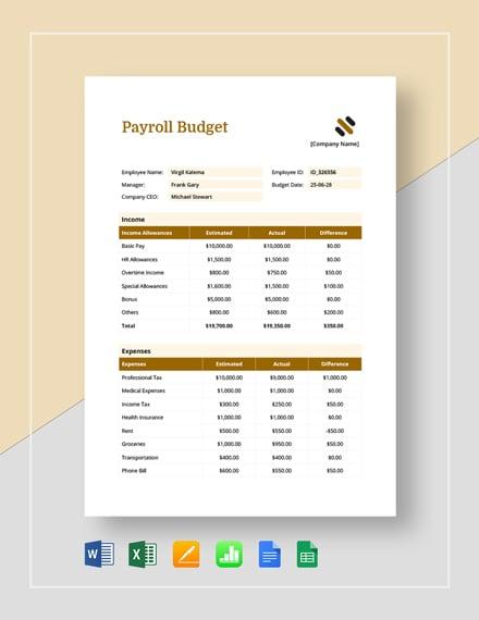 payroll budget