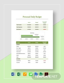 Personal Daily Budget Template