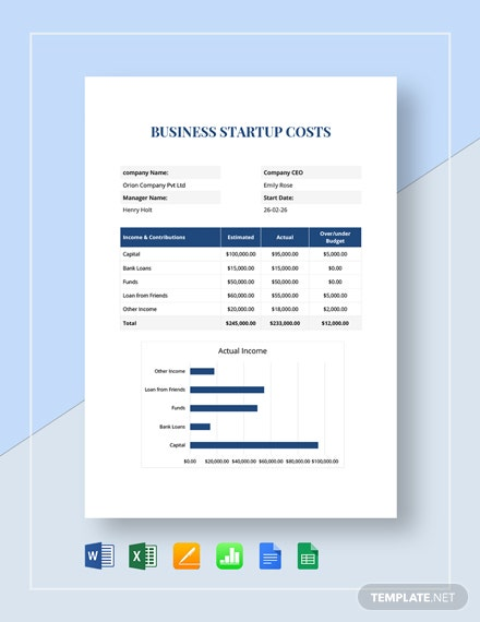 Simple Business Start Up Costs Template