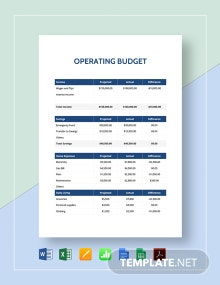 Simple Operating Budget Template