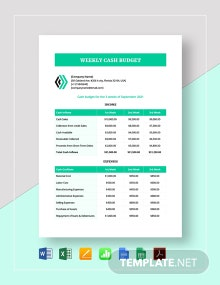 Weekly Cash Budget Template