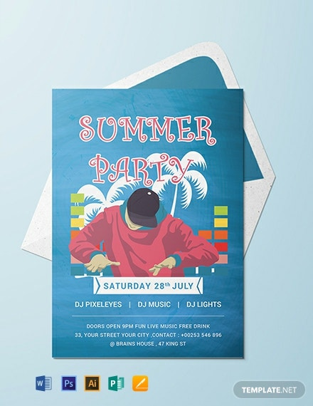 Free DJ Summer Party Invitation Template