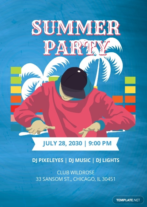 DJ Summer Party Invitation Template