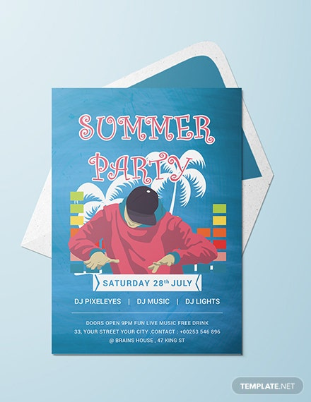 free dj summer party invitation template download 344 invitations