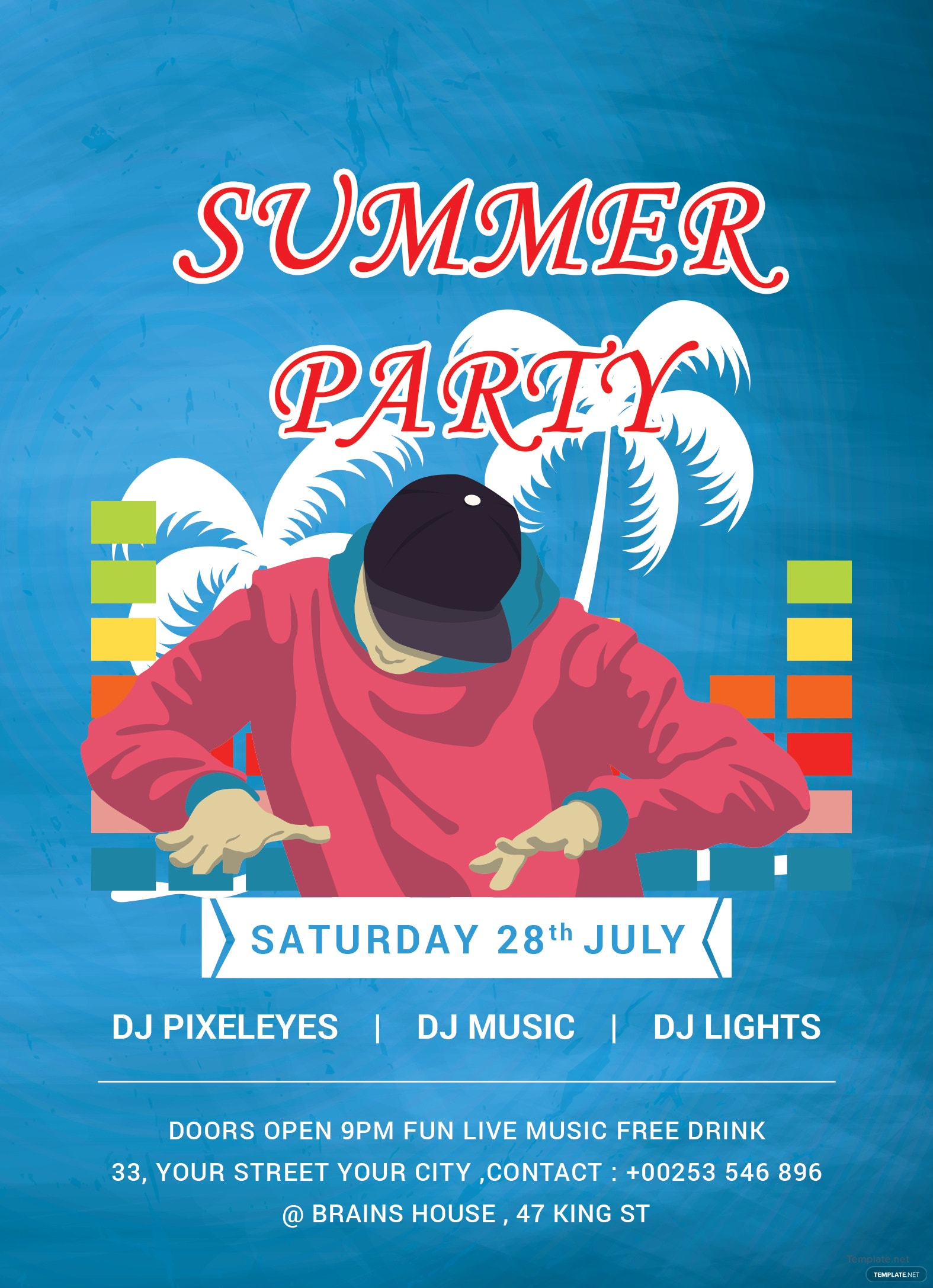 free dj summer party invitation template in adobe