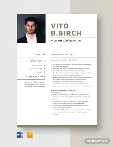 Accounts Administrator Resume Template