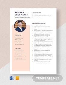 Accreditation Manager Resume Template