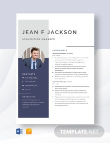 Acquisition Manager Resume Template