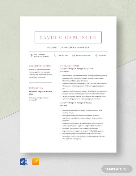 Acquisition Program Manager Resume Template