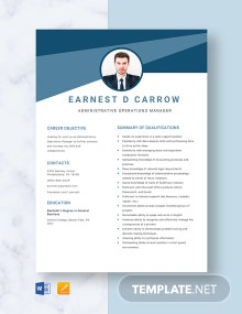 Administrative Operations Manager Resume Template