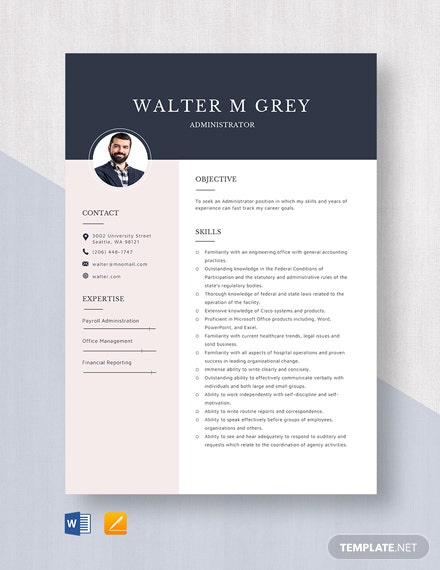 simple account administrator resume template