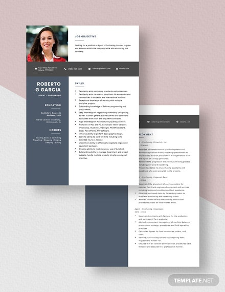 Agent  Purchasing Resume Download