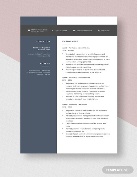 Agent  Purchasing Resume Template