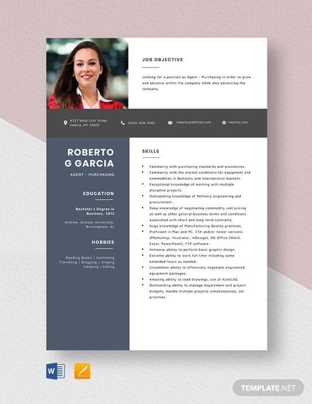 Agent - Purchasing Resume Template