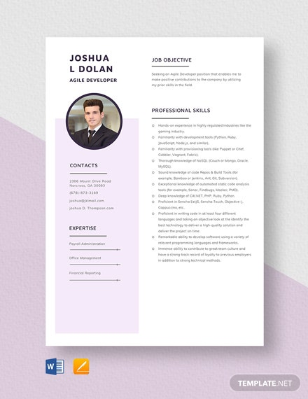 agile coach resume template