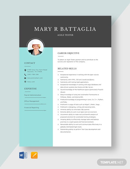 Agile Tester Resume Template