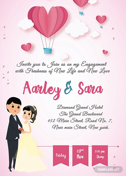 free elegant engagement invitation card template  download