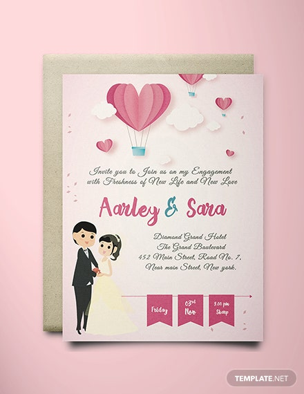 free elegant engagement invitation card template  download