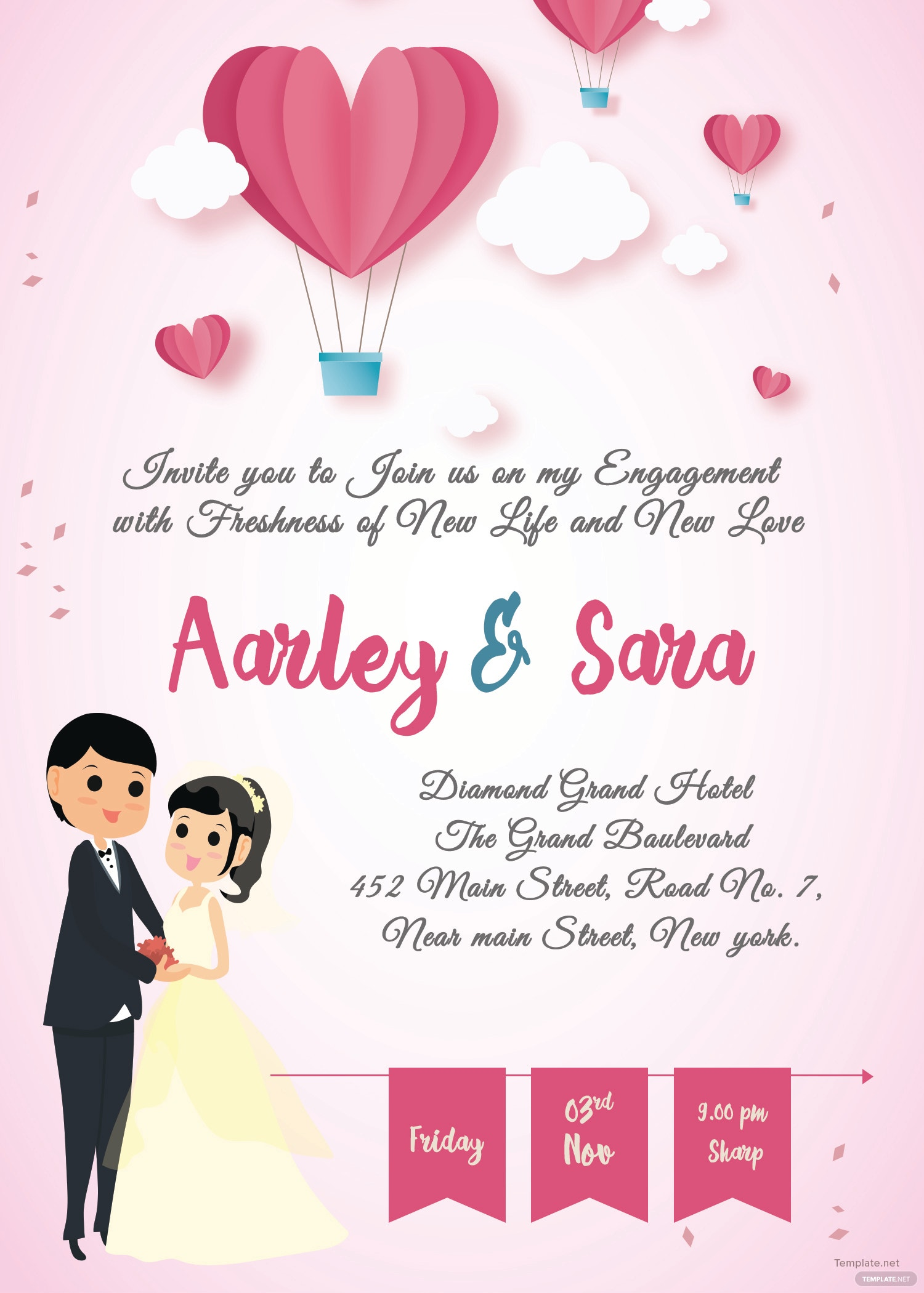 free elegant engagement invitation card template in adobe photoshop  illustrator