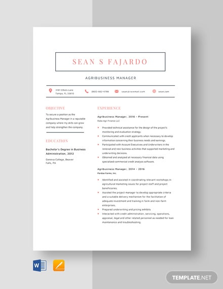 Agribusiness Manager Resume Template