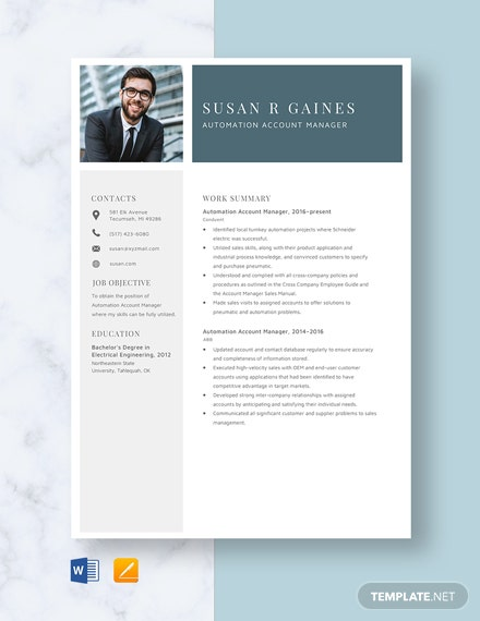 Automation Account Manager Resume Template