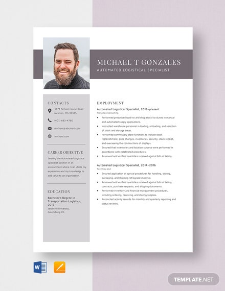 Automated Logistical Specialist Resume Template