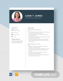 Automation Manager Resume Template