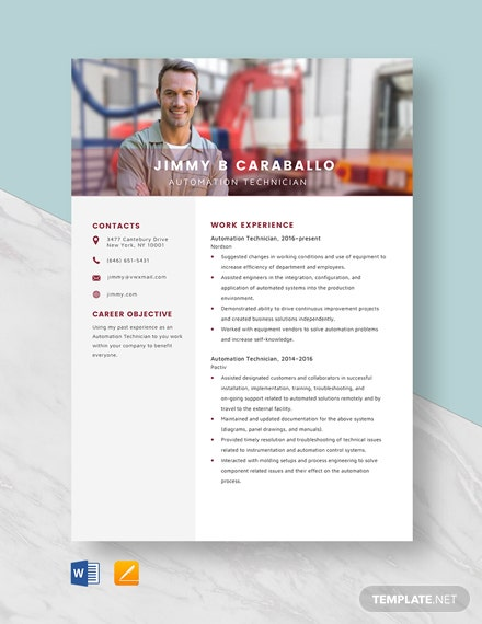 Automation Technician Resume Template