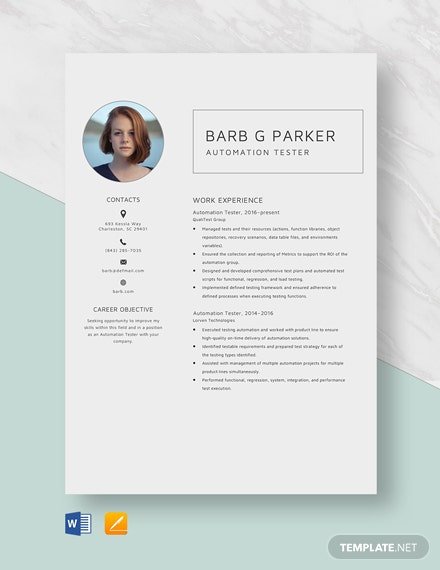 Automation Tester Resume Template