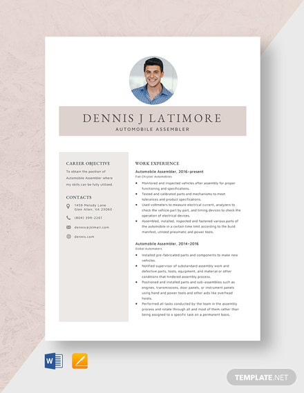 Automobile Assembler Resume Template