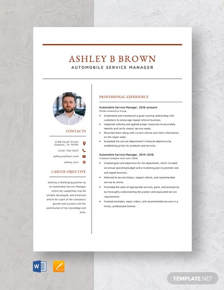 Automobile Service Manager Resume Template