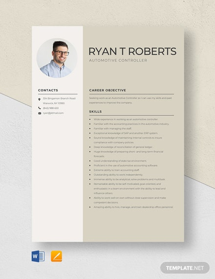 Automotive Controller Resume Template