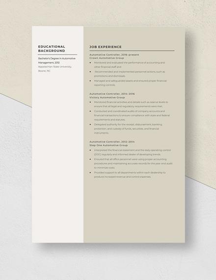 Automotive Controller Resume Template