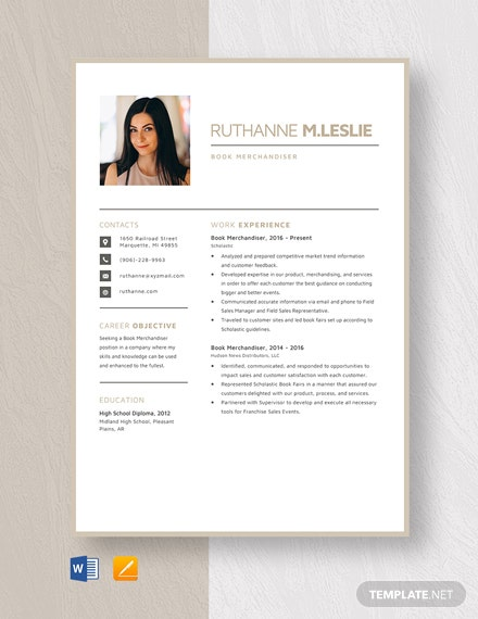 Book Merchandiser Resume Template