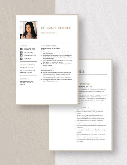 Book Merchandiser Resume Download