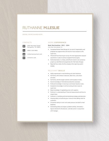 Book Merchandiser Resume Template