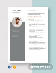 Booking Manager Resume Template