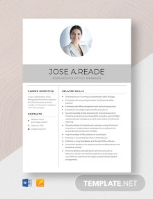 Bookkeeper Office Manager Resume Template
