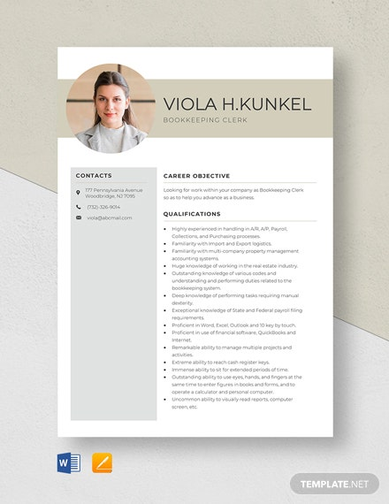 Bookkeeping Clerk Resume Template