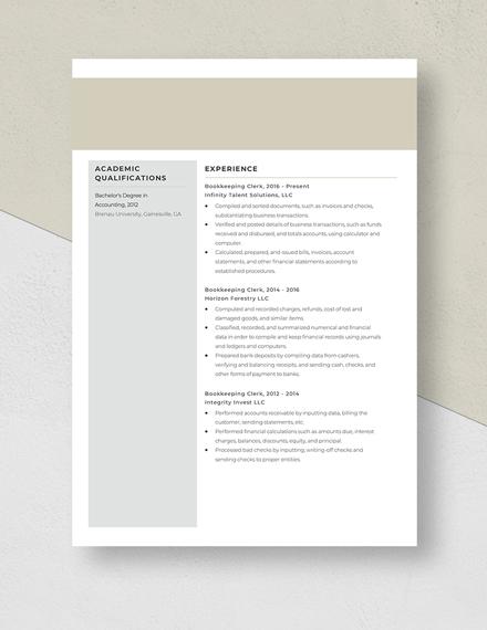 Bookkeeping Clerk Resume Template
