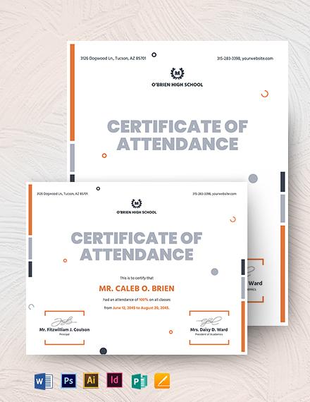 100 attendance certificate