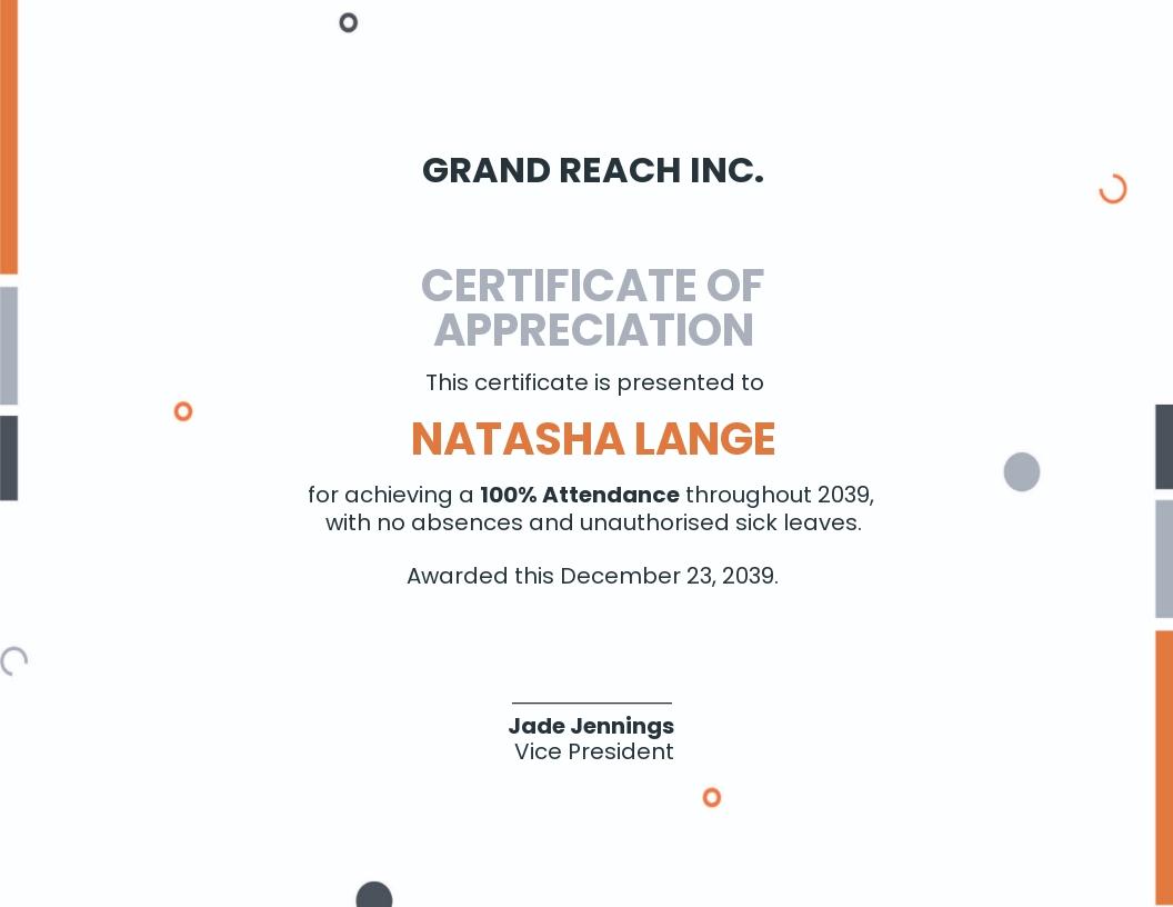 100 Percent Attendance Certificate Template
