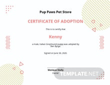 Adapted Puppy Certificate Template