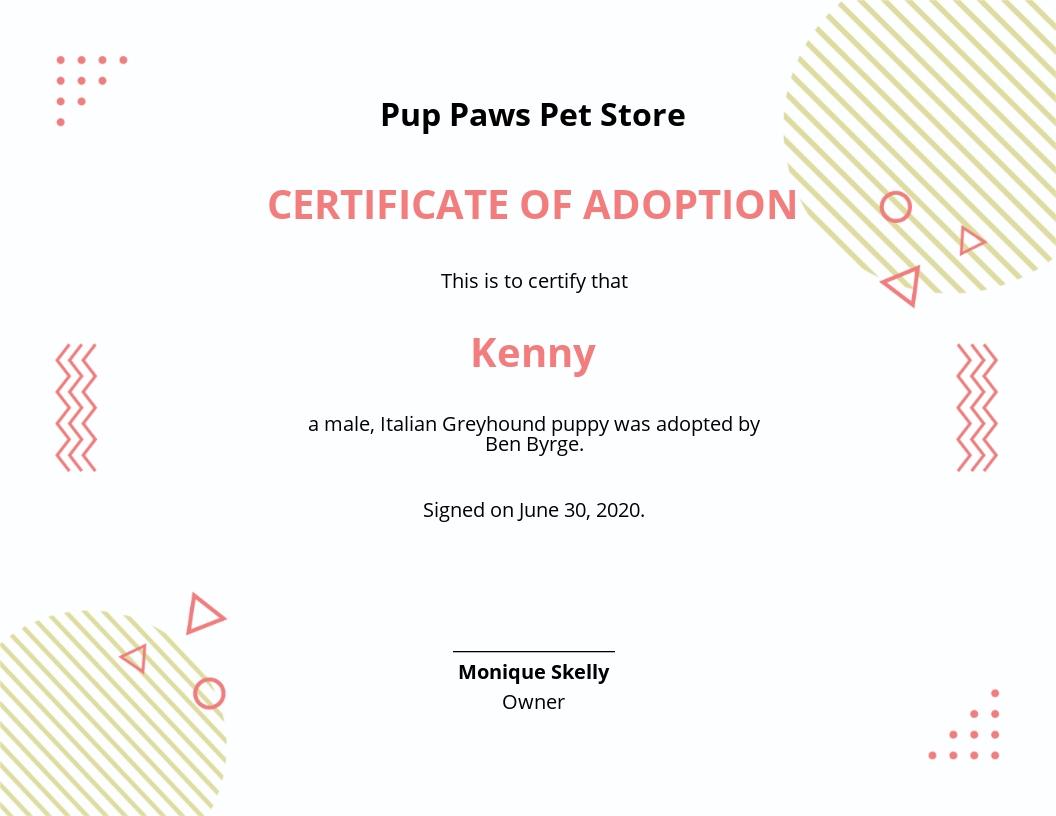 Adapted Puppy Certificate Template.jpe