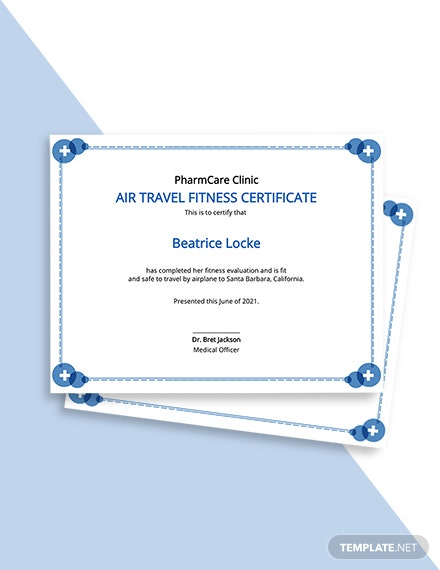 Air Travel Fitness Certificate Template