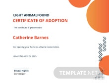 Animal Adoption Certificate Template