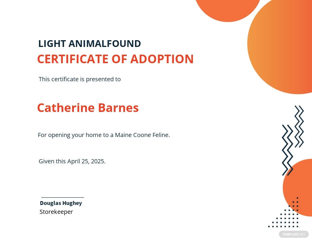 Animal Adoption Certificate Template